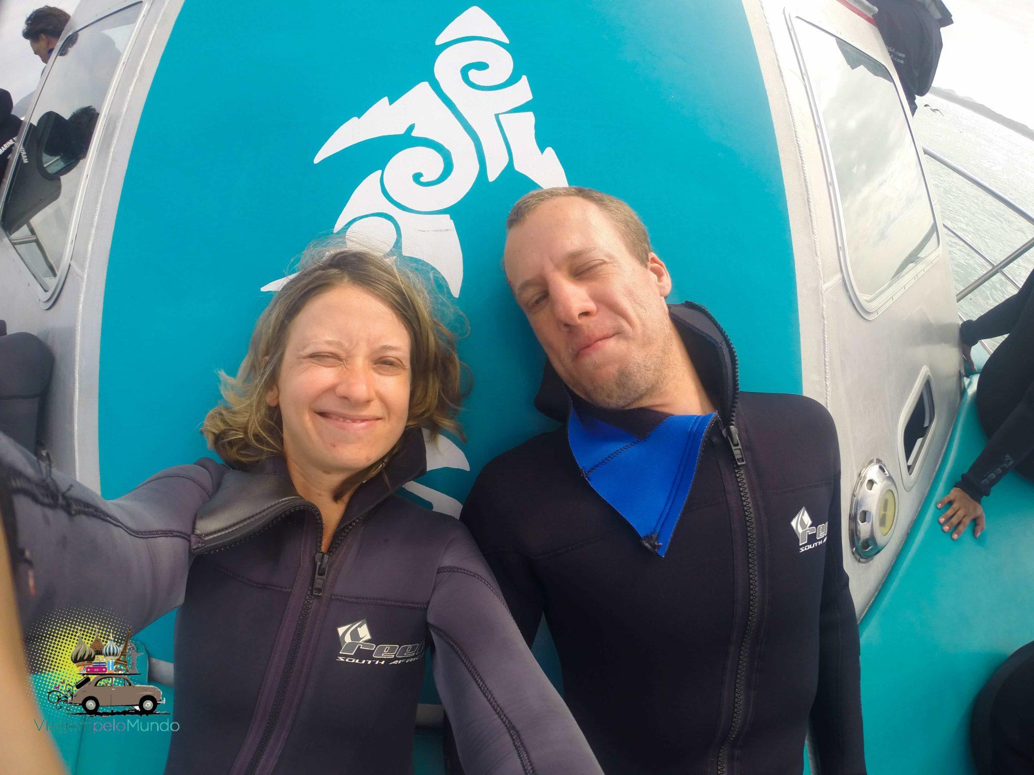 Mergulho com tubarões na África do Sul